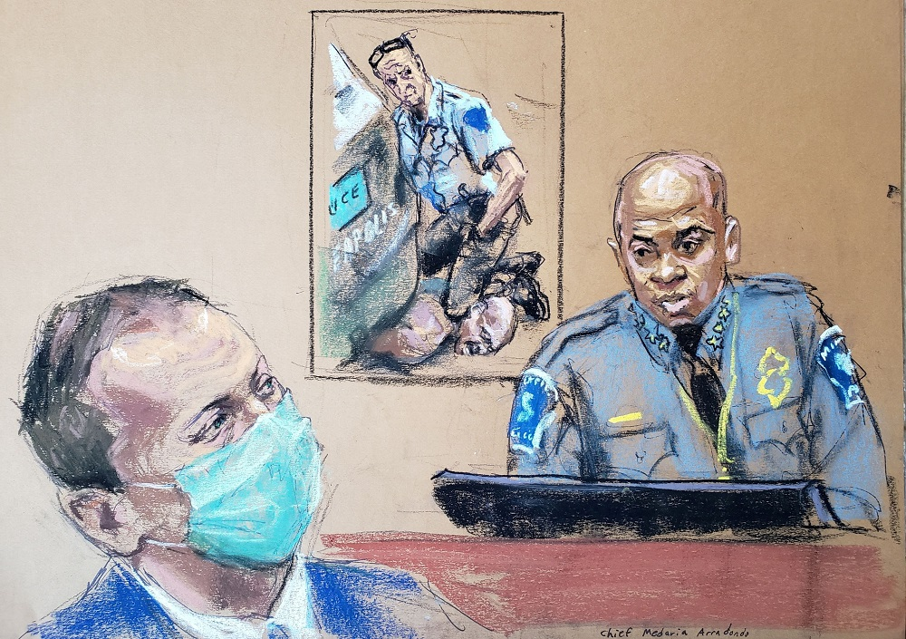 Minneapolis Police Chief Medaria Arradondo answers questions on the sixth day of the trial of former Minneapolis police officer Derek Chauvin (left) in the death of George Floyd in Minneapolis April 5, 2021 in this courtroom sketch. —  Picture by Jane Rosenberg via Reuters