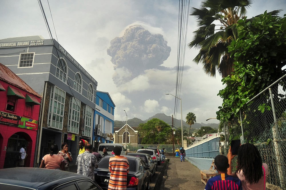 Ash and smoke billow as the La Soufriere volcano erupts in Kingstown on the eastern Caribbean island of St. Vincent April 9, 2021. — Reuters pic
