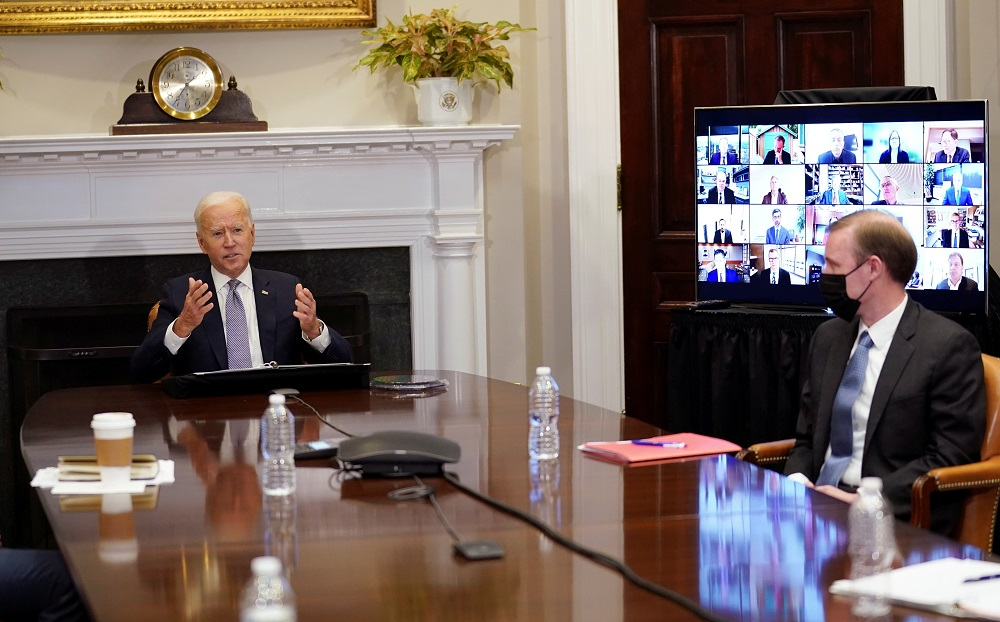 US President Joe Biden speaks as he participates in the virtual CEO Summit on Semiconductor and Supply Chain Resilience from the Roosevelt Room at the White House in Washington April 12, 2021. — Reuters pic