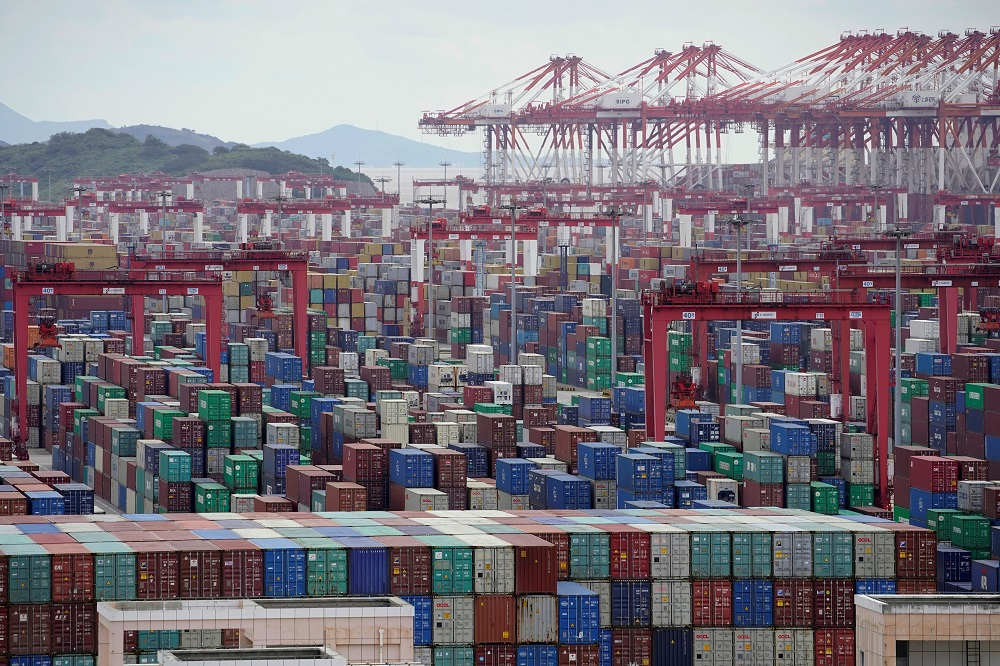 Containers are seen at the Yangshan Deep-Water Port in Shanghai October 19, 2020. — Reuters pic