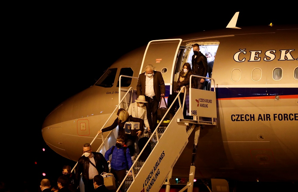 Czech diplomats expelled from Russia arrive at Vaclav Havel Airport in Prague, Czech Republic April 19, 2021. — Reuters pic