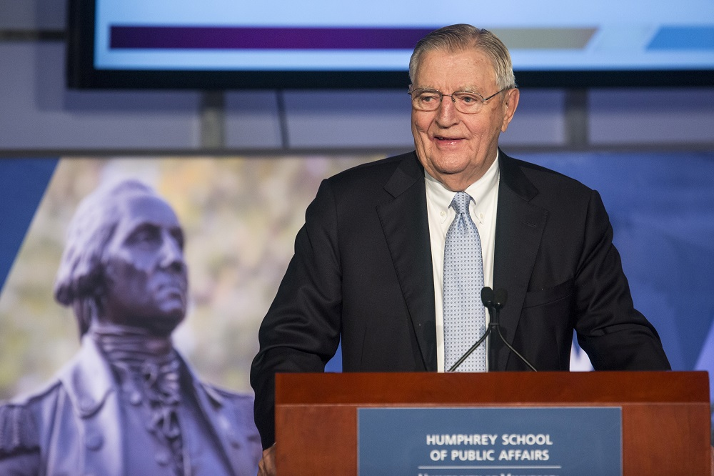 Former Vice President Walter Mondale speaks at an event held in his honour at The George Washington University in Washington October 20, 2015. — Reuters pic