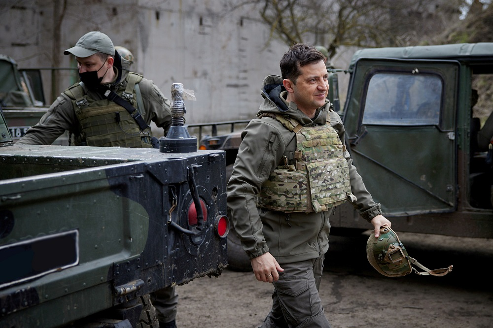 Ukraine's President Volodymyr Zelenskiy visits positions of armed forces near the frontline with Russian-backed separatists in Donbass region, Ukraine April 9, 2021. — Picture by Ukrainian Presidential Press Service/Handout via Reuters