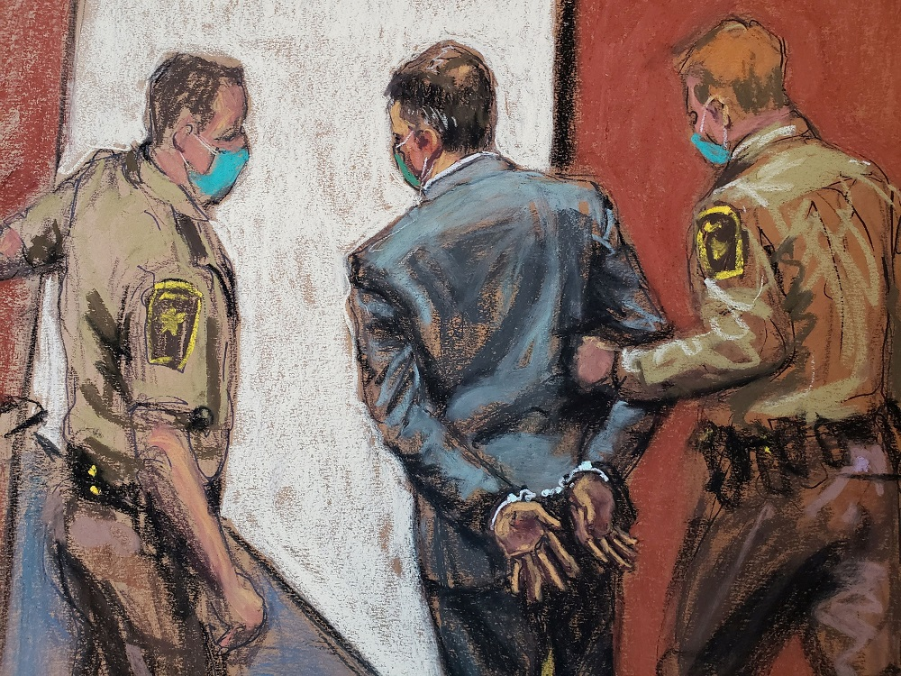 Former Minneapolis police officer Derek Chauvin is led away in handcuffs after a jury found him guilty on all counts in his trial for the death of George Floyd in Minneapolis April 20, 2021 in this courtroom sketch. — Reuters pic