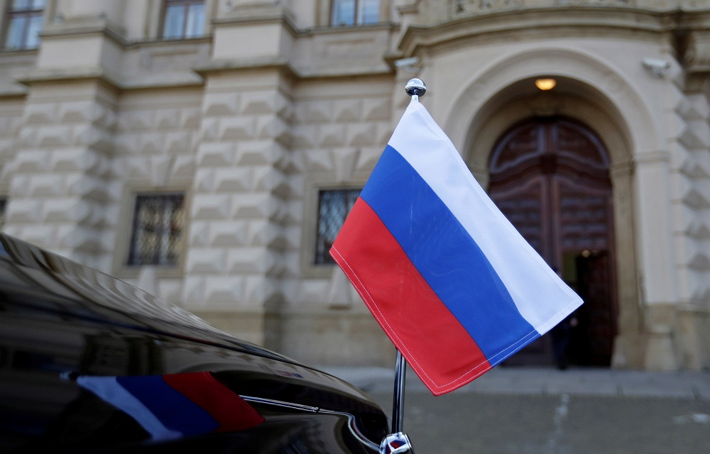 Russian national flag is seen on a car in front of the Foreign Ministry in Prague April 21, 2021. — Reuters pic