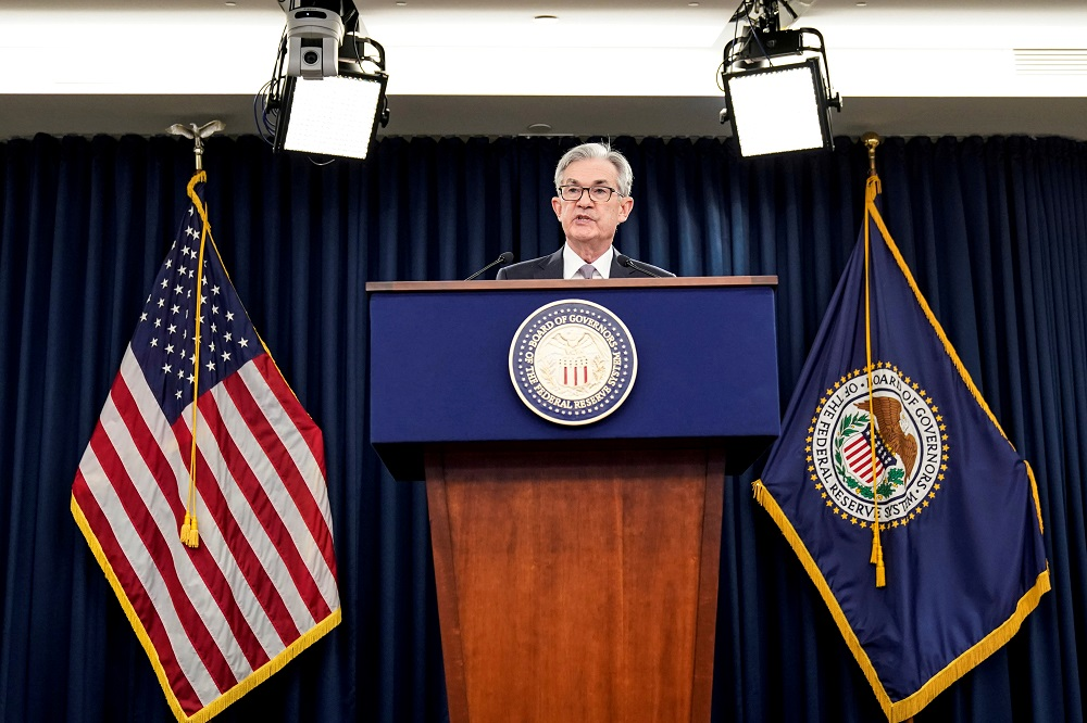 Federal Reserve Chair Jerome Powell holds a news conference following the Federal Open Market Committee meeting in Washington December 11, 2019. — Reuters pic