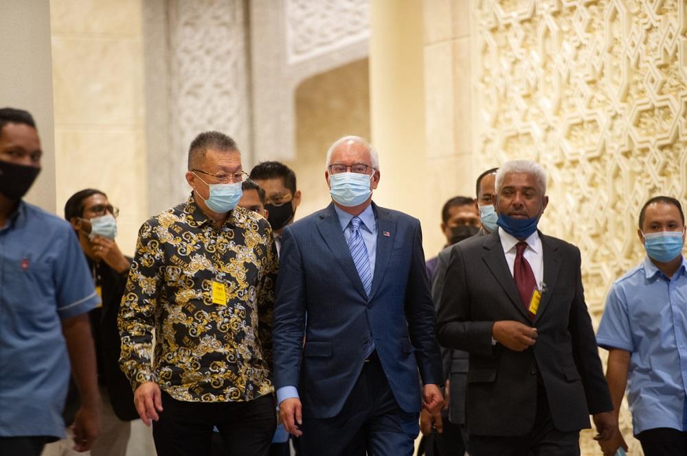 Former prime minister Datuk Seri Najib Razak at the Court of Appeal in Putrajaya April 6, 2021. — Picture by Shafwan Zaidon