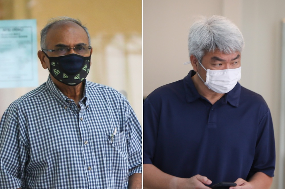 Teva Raj Palaniasamy (left) and Johnny Go Kau Chai allegedly accepted bribes in the form of a hotel stay in Macau. — TODAY pic