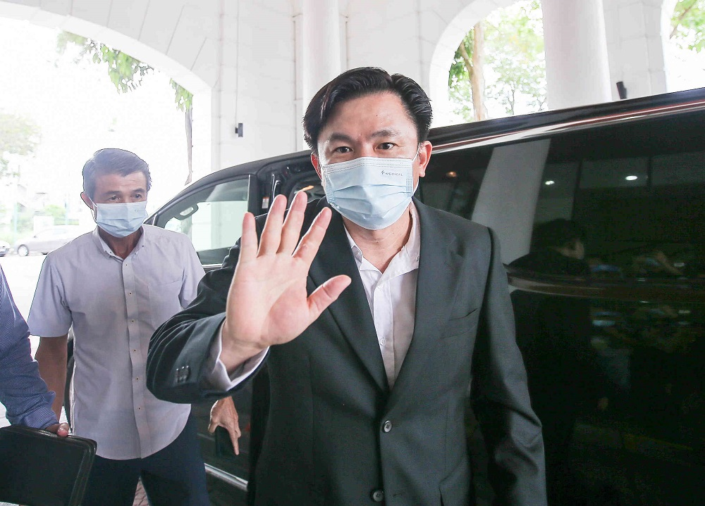 Tronoh assemblyman Paul Yong arrives at the High Court in Ipoh April 7, 2021. — Picture by Farhan Najib
