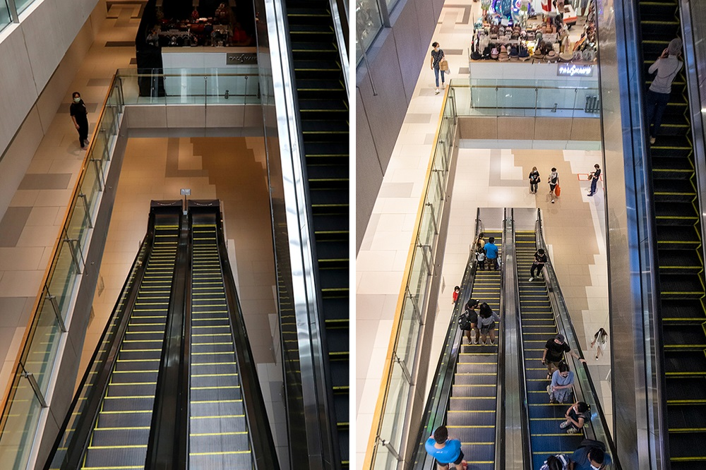 (Left) Westgate mall at Jurong East on April 7, 2020. Retail shops were shut and only essential services were allowed to operate during the circuit breaker. (Right) Footfall at Westgate mall on April 7, 2021. — TODAY pic