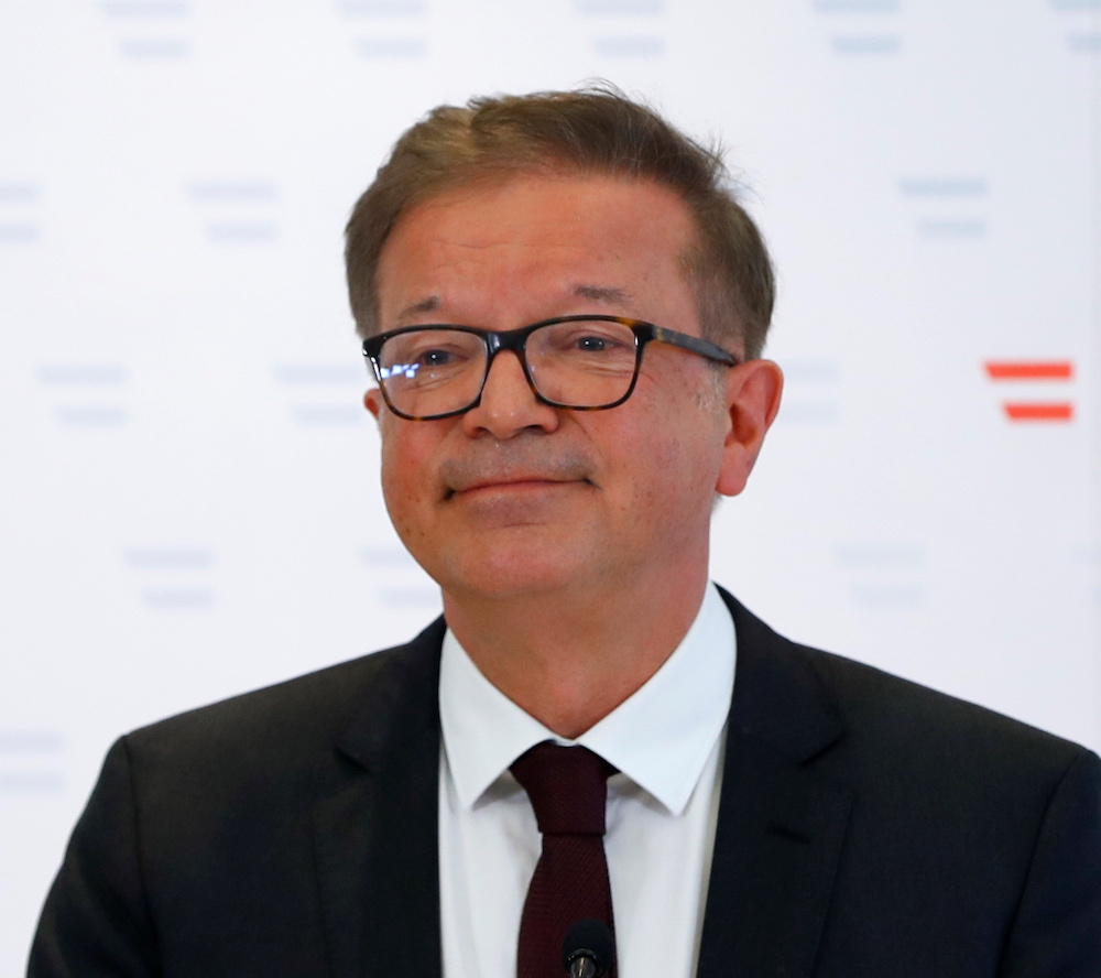 Austrian Health Minister Rudolf Anschober attends a news conference in Vienna, Austria, April 13, 2021. — Reuters pic