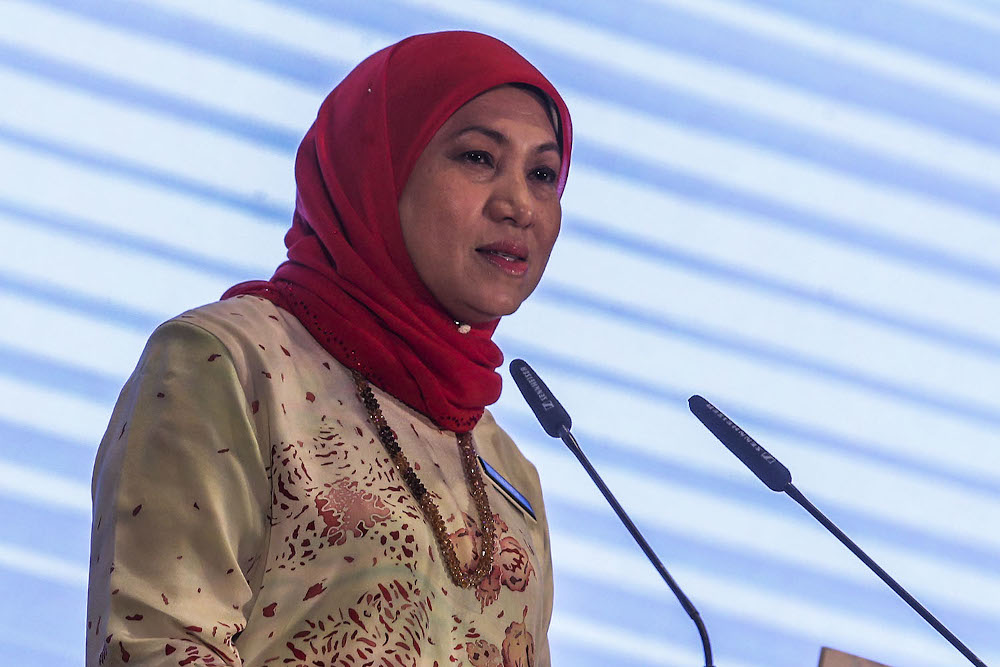 Minister of Tourism, Arts and Culture Datuk Seri Nancy Shukri speaks during the Malaysia Business Events Strategic Marketing Plan 2021-2030 Programme held at Pullman Bangsar April 15, 2021. ― Picture by Hari Anggara