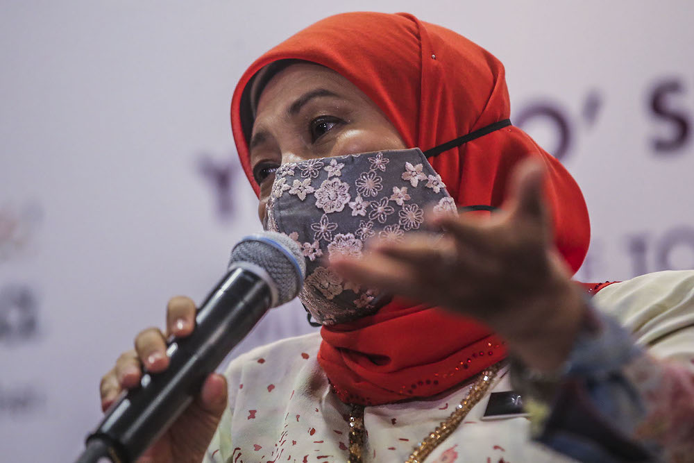 Minister of Tourism, Art and Culture Datuk Seri Nancy Shukri speaks during the Malaysia Business Events Strategic Marketing Plan 2021-2030 Programme in Pullman Bangsar April 15, 2021. ― Picture by Hari Anggara