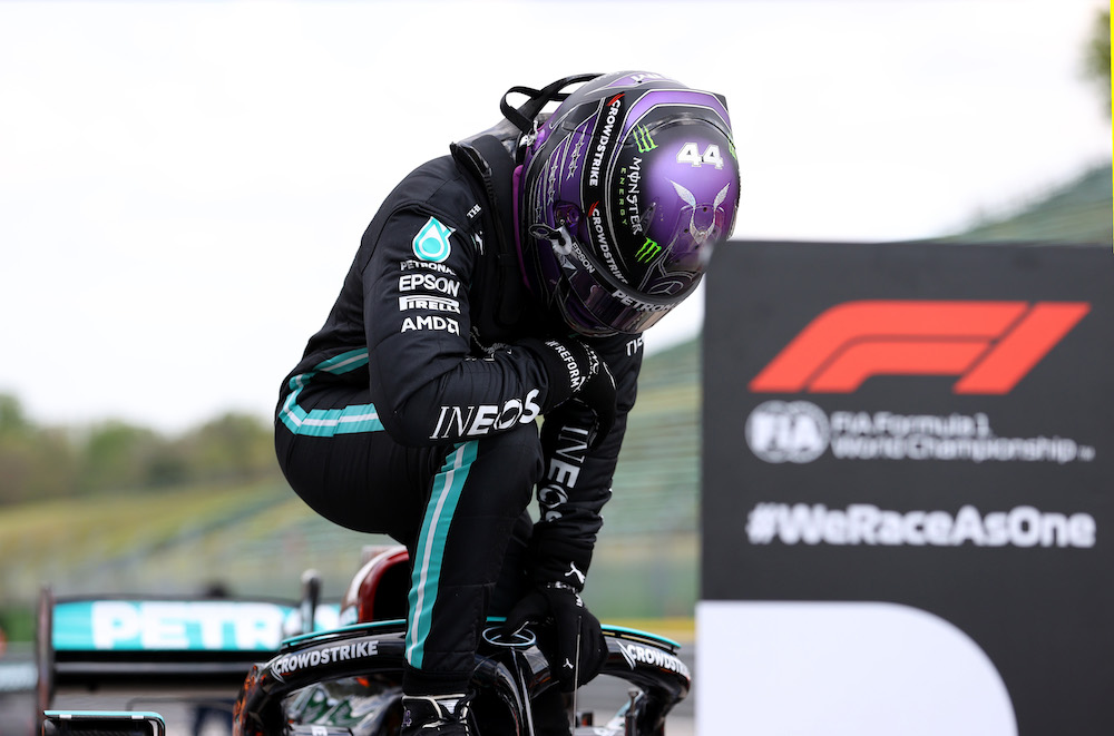 Mercedes' Lewis Hamilton celebrates after qualifying in pole position at the Emilia Romagna Grand Prix  Imola, Italy April 17, 2021. — Reuters pool pic