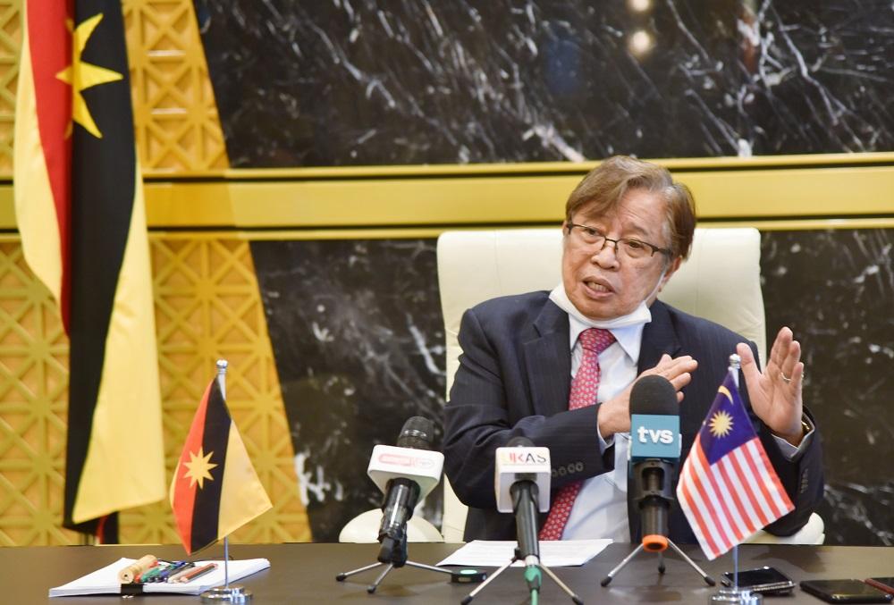 Sarawak Chief Minister Datuk Patinggi Abang Johari Openg speaks during a virtual press conference April 19, 2021. — Picture by Sarawak Information Department