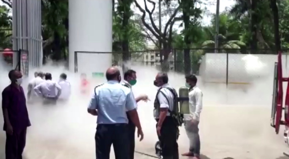 An oxygen tanker leaks at hospital premises where Covid-19 patients died due to lack of oxygen in Nashik, India April 21, 2021 in this still image taken from video. — Reuters pic