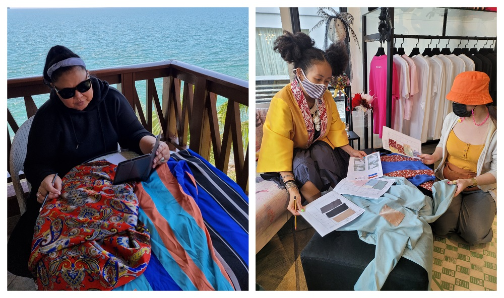 Tom (left pic) and Looi working on their designs for the children's Raya clothes. — Pictures courtesy of Looi and Tom