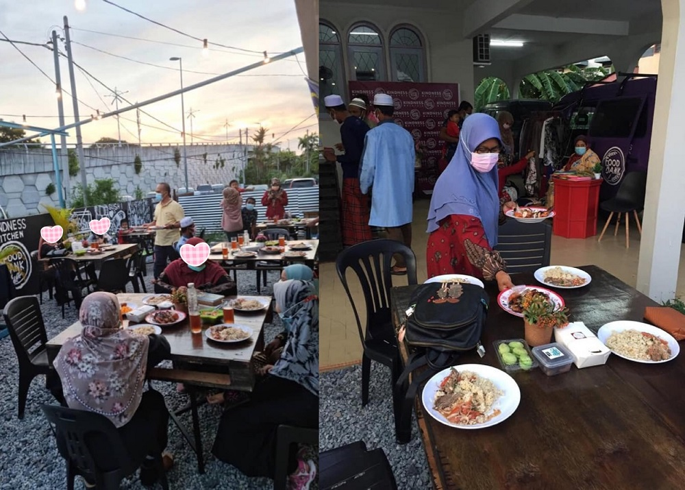 Poor families who cannot afford to splurge on a restaurant meal are welcome to break their fast for free at Kindness Kitchen Cafe. — Pictures via Facebook/kindness.utara