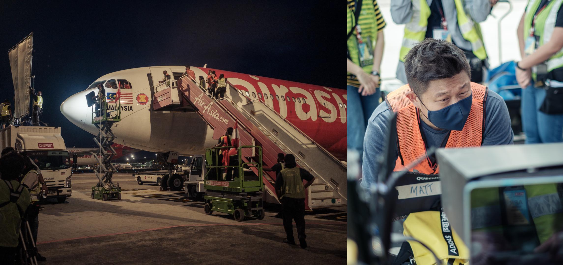 为求真实效果,剧组特别安全前往吉隆坡国际机场和吉隆坡第二国际机场取景,以及在真实飞机内拍摄;右图是赖健雄。-图由阿细亚热带电影有限公司提供/精彩大马制图-