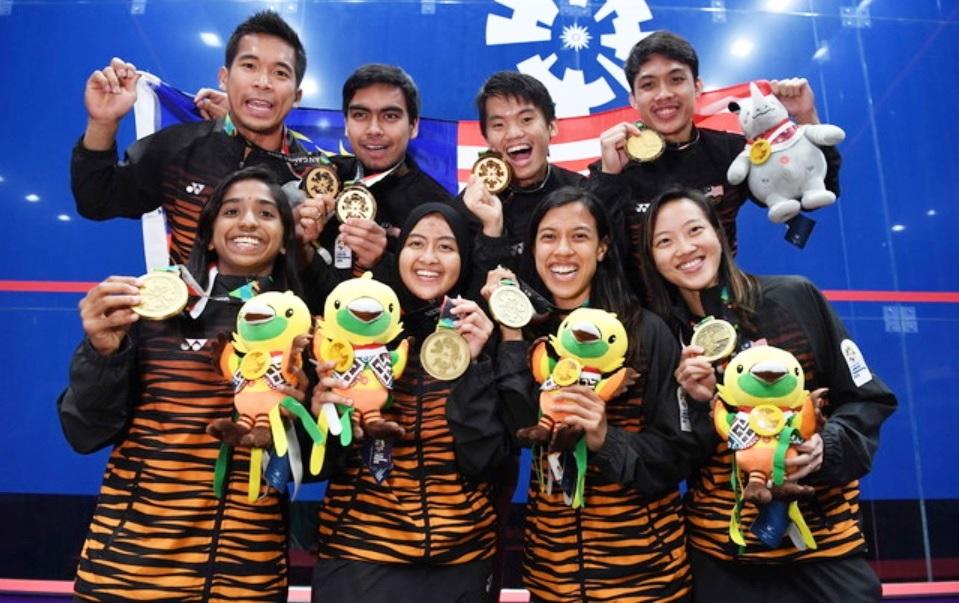 """大马壁球队在2018年的雅加达-巨港亚运会,一共拿下2金1银2铜,成为我国在亚运会的奖牌""""金库""""之一。-马新社-"""