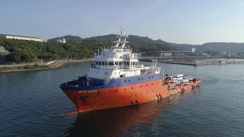 File picture of the Royal Malaysian Navy's submarine rescue ship, MV Mega Bakti. — Royal Malaysian Navy handout via Reuters