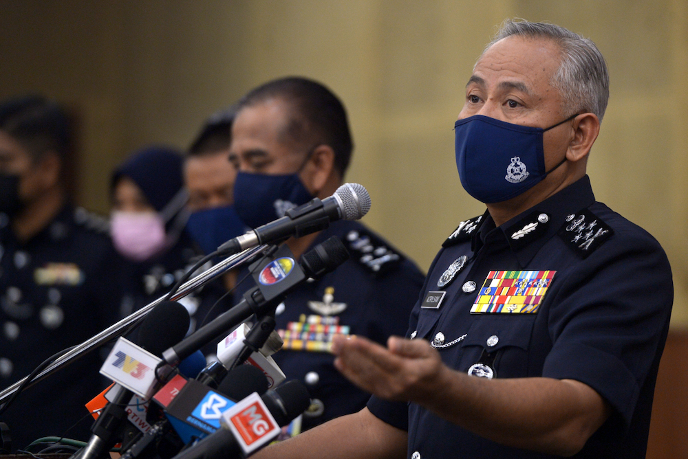 Deputy Inspector-General of Police Datuk Seri Acryl Sani Abdullah Sani speaks during a press conference after the narcotics department carried out a raid on two illegal drug labs in IPK Shah Alam April 26, 2021. — Picture by Miera Zulyana