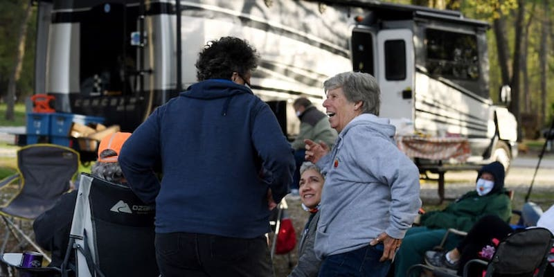 Rue Watson (left) and Sandi Muller (right) who are part of the mid-Atlantic chapter of a group called RVing Women. — AFP pic
