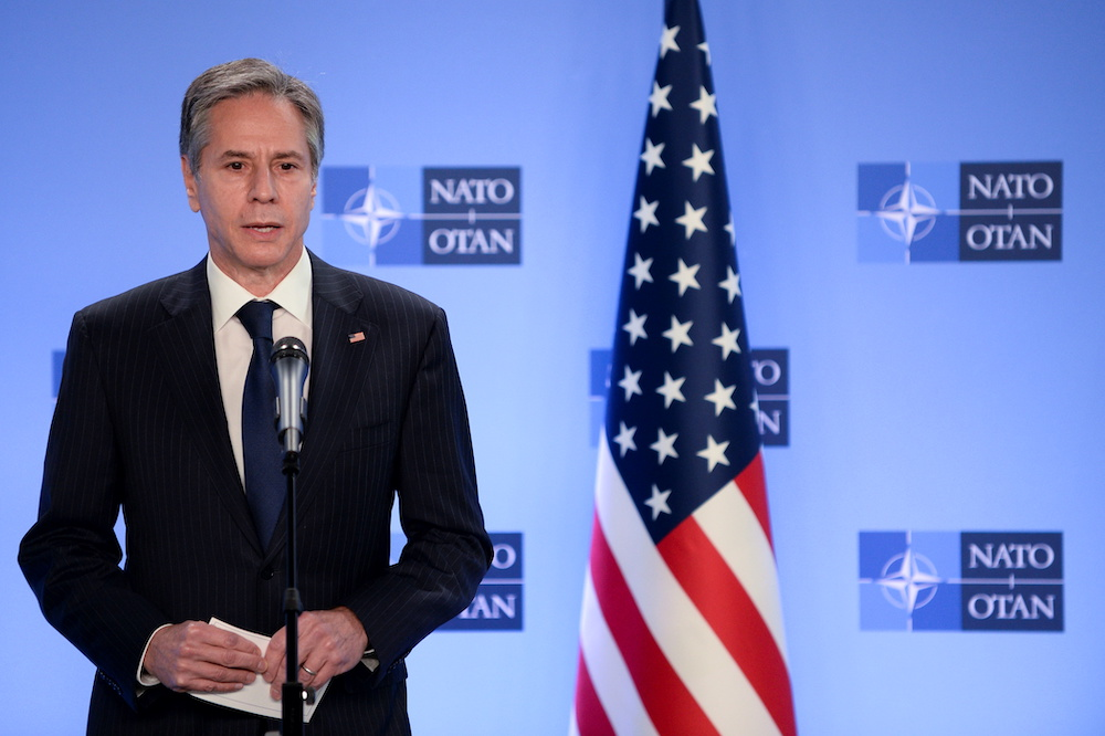 US Secretary of State Antony Blinken delivers a statement as he meets with NATO Secretary General Jens Stoltenberg in Brussels, Belgium, April 14, 2021. — Reuters pic