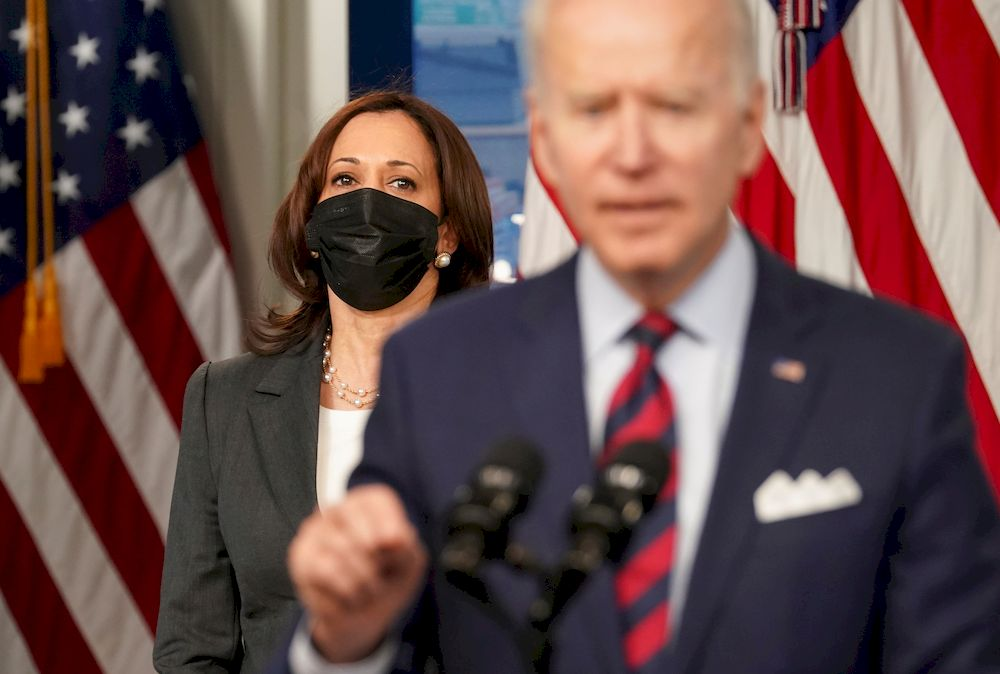 US Vice President Kamala Harris listens as President Joe Biden speaks about jobs and the economy at the White House in Washington, US, April 7, 2021. — Reuters pic