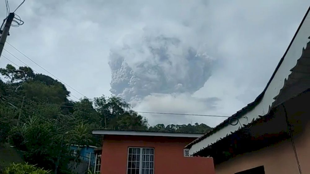 Ash plume is seen in the sky as La Soufriere volcano erupts on April 9, 2021 in this still frame obtained from social media video, in St Vincent, St Vincent and The Grenadines. — Janelle Whitney Lampkin/via Reuters