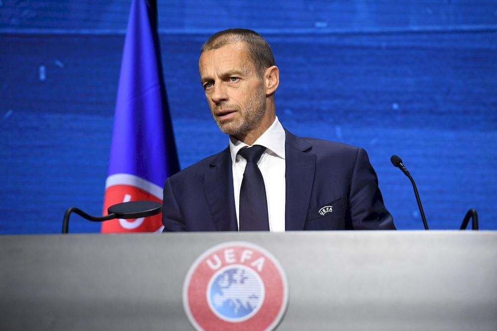 Uefa President Aleksander Ceferin speaking during the 45th Ordinary Uefa Congress, Montreux, Switzerland, April 20, 2021. — UEFA/Handout via Reuters