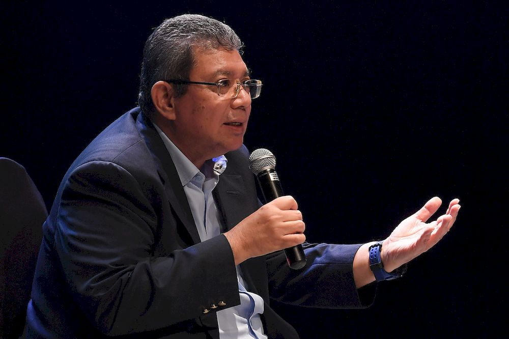 Minister of Communications and Multimedia Datuk Saifuddin Abdullah speaks during a dialogue session with recipients of the Cultural Economic Development Agency (CENDANA) Recovery Fund initiative, April 5, 2021. — Bernama pic