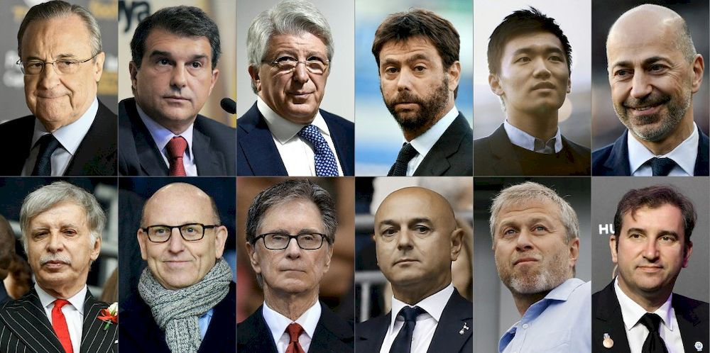 This combination of pictures created on April 20, 2021 shows the owners or chairmen of the twelve major European Football clubs that announced on April 19, 2021 the launch of a breakaway European Super League in a potentially seismic shift in the way football is run, (from top left to bottom right) Real Madrid's Florentino Perez, FC Barcelona's Joan Laporta, Atletico Madrid's Enrique Cerezo, Juventus's Andrea Agnelli, Inter Milan's Steven Zhang, AC Milan's Ivan Gazidis, Arsenal's Stan Kroenke, Manchester United's Joel Glazer, Liverpool's John W Henry, Tottenham Hotspur's chairman Daniel Levy, Chelsea's Roman Abramovich, and Manchester City's Ferran Soriano. — AFP pic