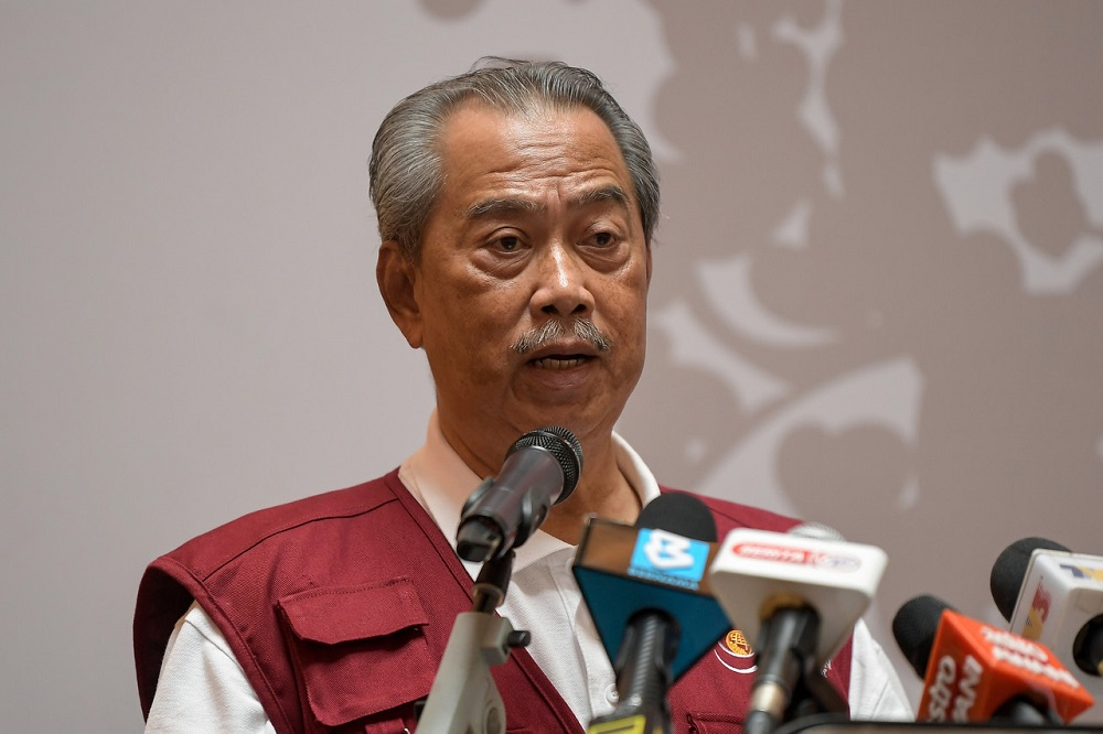 Prime Minister Tan Sri Muhyiddin Yassin delivers a speech during the Blood Donation Drive 2021 programme in Kuala Lumpur April 3, 2021. — Bernama pic