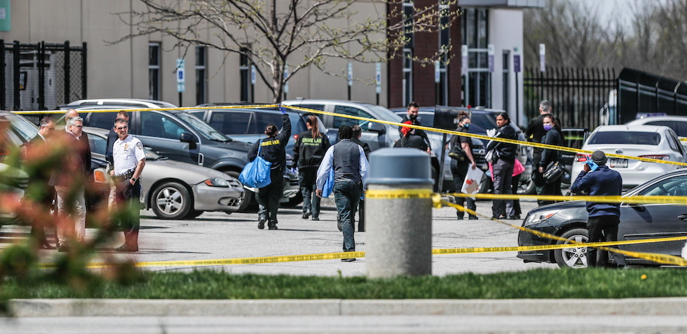 Investigators are on the scene following a mass shooting at a FedEx facility in Indianapolis, Indiana, US, April 16, 2021. — Reuters pic