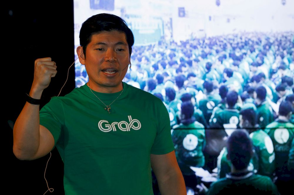 Grab's CEO Anthony Tan speaks during Grab's fifth anniversary news conference in Singapore June 6, 2017. — Reuters pic