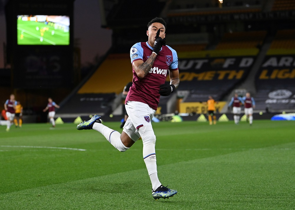 West Ham United's Jesse Lingard celebrates after scoring the first goal against Wolverhampton Wanderers April 6, 2021. ― Reuters pic