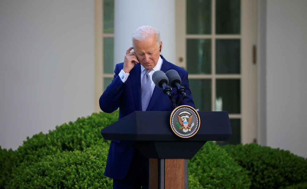 US President Joe Biden in the Rose Garden at the White House in Washington, US, April 16, 2021. — Reuters pic