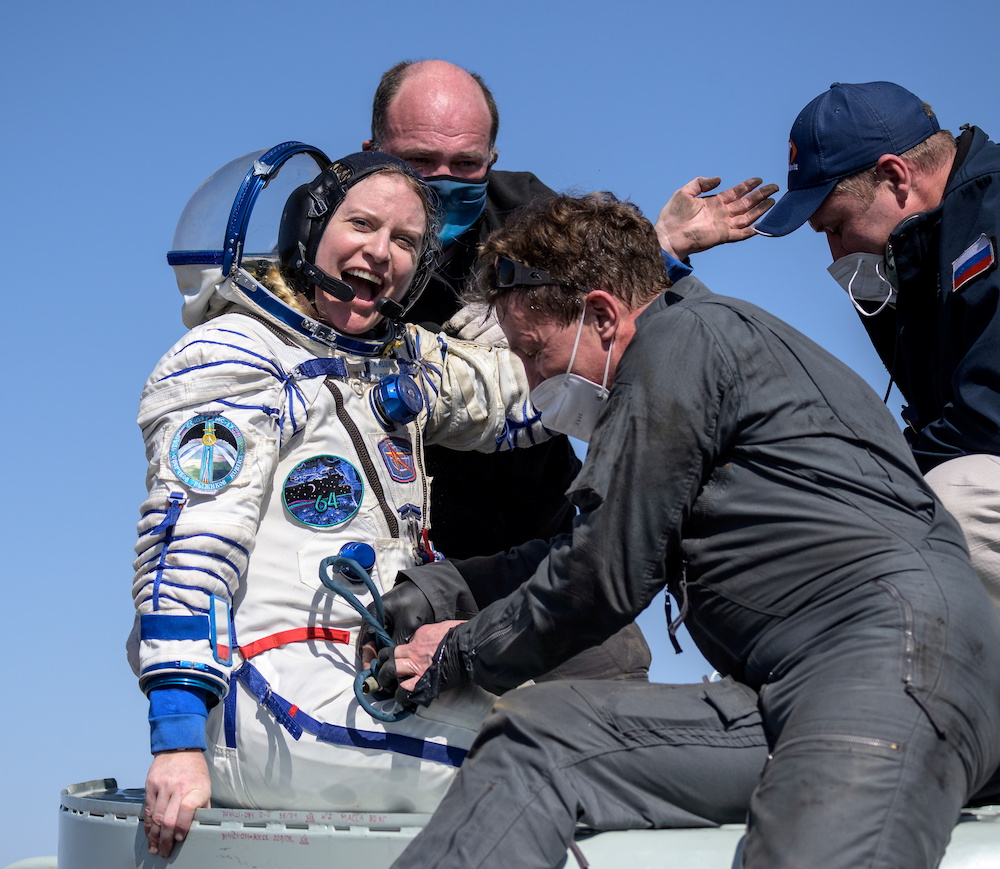 The International Space Station crew member Kathleen Rubins of NASA reacts shortly after the landing of the Soyuz MS-17 space capsule in a remote area outside Zhezkazgan, Kazakhstan April 17, 2021. — Reuters pic