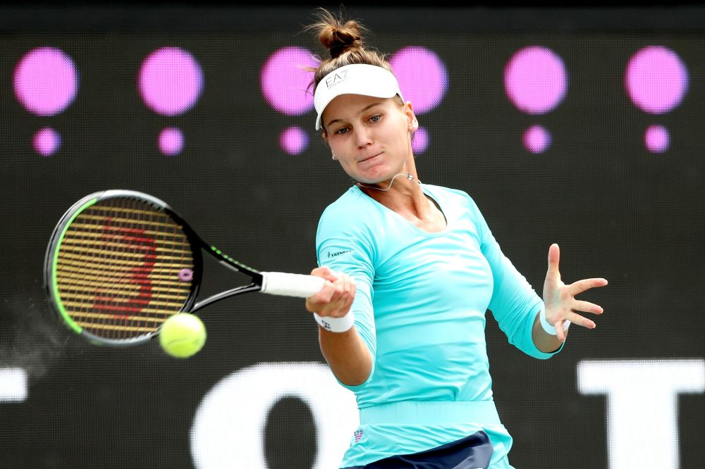 Veronika Kudermetova of Russia returns a shot to Paula Badosa of Spain in the semifinals during the Volvo Car Open at LTP Daniel Island Tennis Center on April 10, 2021 in Charleston, South Carolina. — AFP pic