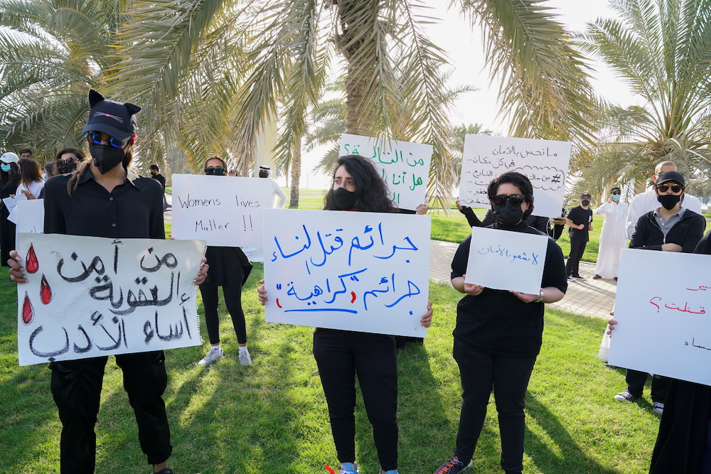Kuwaitis gather to protest against violence against women in Kuwait City, Kuwait, April 22,2021. — Reuters pic