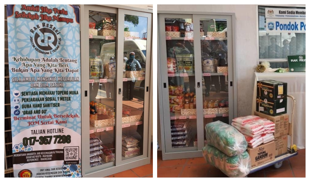 Food bank corner is located outside HTJ's emergency department where it's accessible to the public. — Picture from Facebook/HospitalTuankuJa'afarSeremban