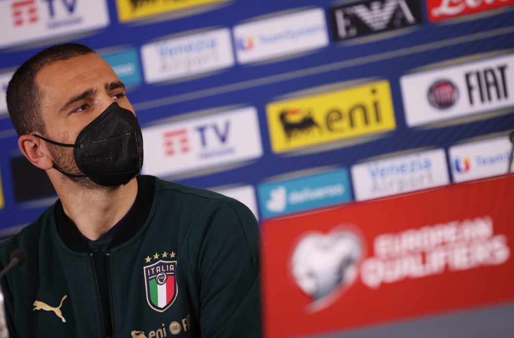 Italy's Leonardo Bonucci during the press conference World Cup Qualifiers Europe in Sofia, Bulgaria, March 27, 2021. — Reuters pic