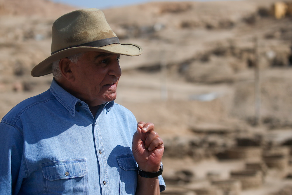 Egyptian archaeologist Zahi Hawass speaks as he unveils details of the recent discovery of the 'Lost Golden City', in the West Bank of Luxor, Upper Egypt, April 10, 2021. — Reuters pic