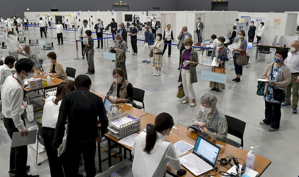 Target participants (elderly person) take part in a mass inoculation trial of the new coronavirus Covid-19 vaccine at an event hall in Fukuoka City, Fukuoka Prefecture on April 24, 2021. — The Yomiuri Shimbun picture via Reuters