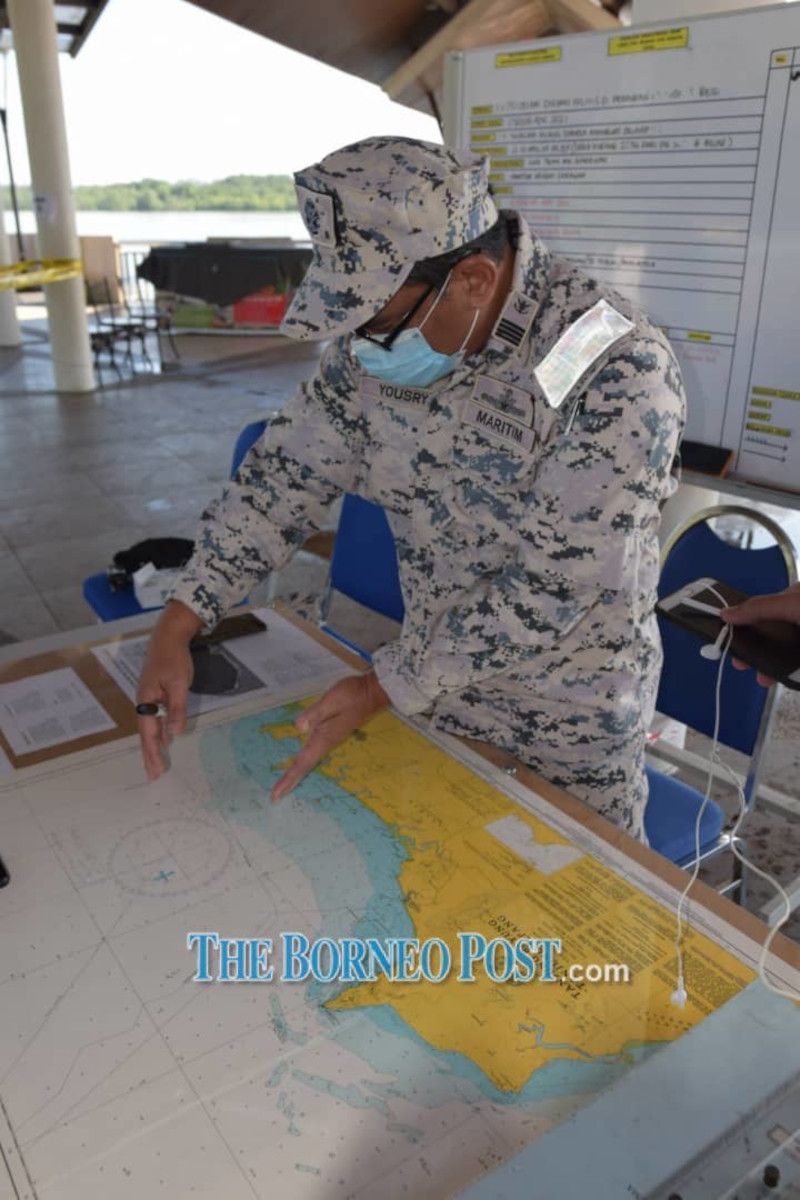 Capt Yousry Yaali shows the location to be covered by MMEA Sarawak. — Borneo Post Online pic