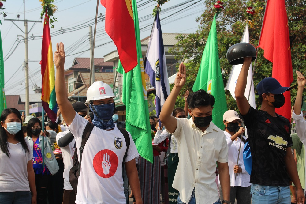 Demonstrators flash a three-finger salute during a protest against the military coup in Dawei, Myanmar April 13, 2021. ― Picture courtesy of Dawei Watch via Reuters