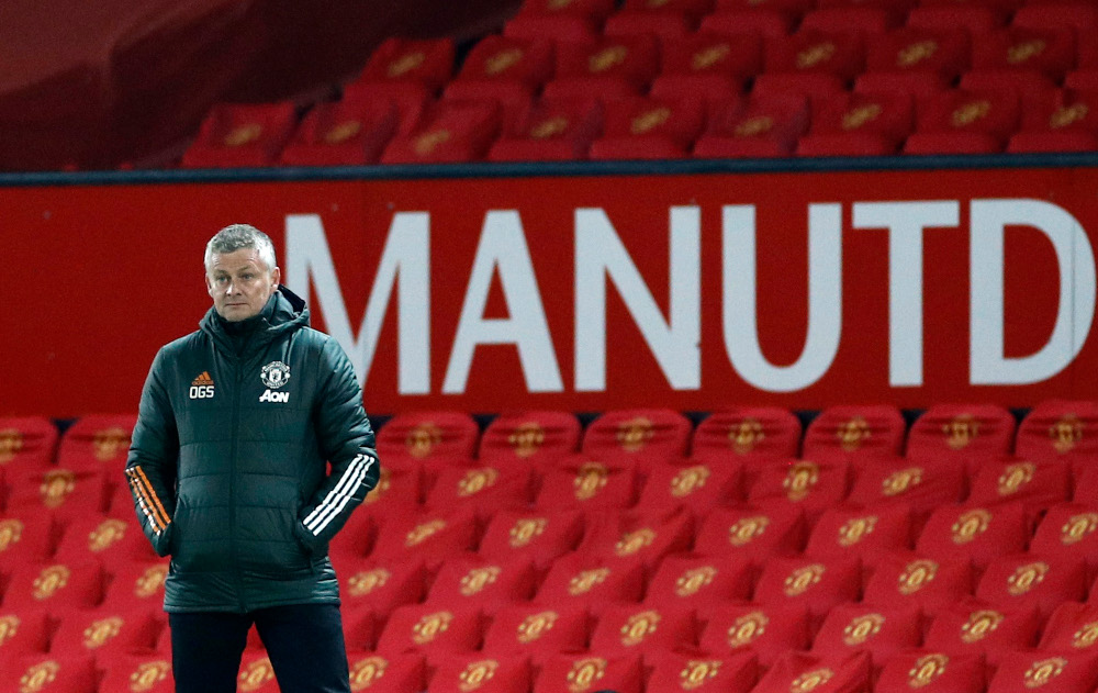 Manchester United manager Ole Gunnar Solskjaer at Old Trafford during a match against Brighton & Hove Albion, April 4, 2021. — Reuters pic