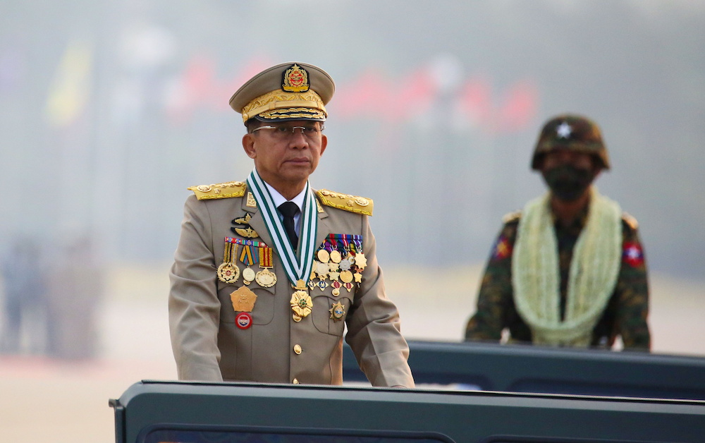 Myanmar's junta chief Senior General Min Aung Hlaing, who ousted the elected government in a coup on February 1, presides an army parade on Armed Forces Day in Naypyitaw, Myanmar, March 27, 2021. — Reuters pic