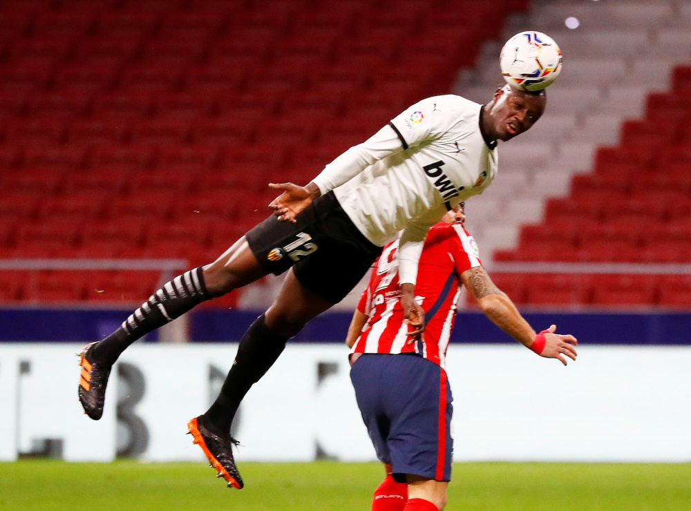 Valencia's Mouctar Diakhaby in action during a match against Atletico Madrid at Wanda Metropolitano in Madrid, January 24, 2021. — Reuters pic